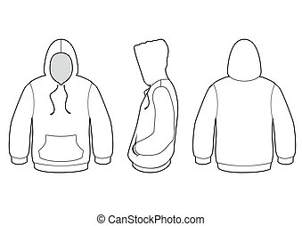 Vector template illustration of a blank hooded sweater. All objects and details are isolated. Colors and transparent background color are easy to adjust.