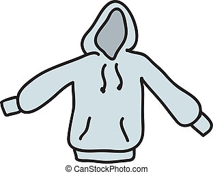 An empty gray hooded Sweatshirt or hoodie.