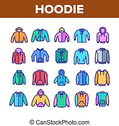 Hoodie And Sweater Collection Icons Set Vector