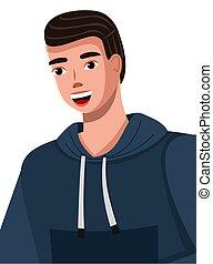 hoodie, bleu, sourire, dessin animé, beau, foncé-d'une chevelure, porter, illustration, large, homme, jeune