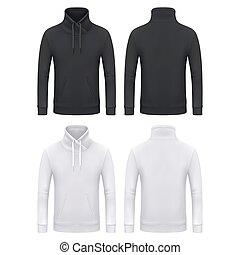 hoodie, canguro, felpa, mockup, uomini, sagoma