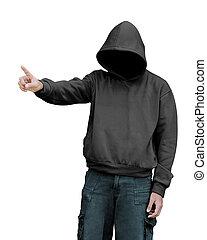 hoodie, coś, spoinowanie, człowiek