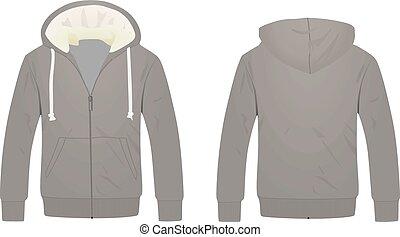 hoodie, vecteur, gris, illustration