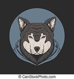 hoodie, vecteur, illustration, loup