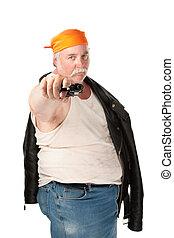 Fat hoodlum with orange bandana pointing a pistol