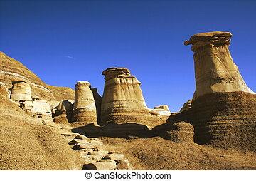Hoodoos, Alberta - Hoodoos (sandstone rock formations) near...