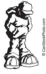 Hoody man - Black and white illustration of young man...