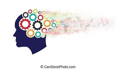 hoofd, abstractie, 1080, psychology., verstand, motie, denken, grafisch, toestellen, geheugen, opleiding, hd, dust.
