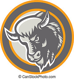 hoofd, amerikaan bizon, retro, cirkel, buffel