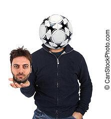 hoofd, bal, jonge, instead, voetbal, man