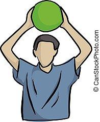 hoofd, bal, op, lijnen, vrijstaand, illustratie, achtergrond., vector, groene, vasthouden, black , witte , man