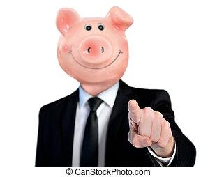 hoofd, bank, piggy, zakenmens