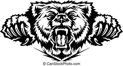 hoofd, beer, mascotte