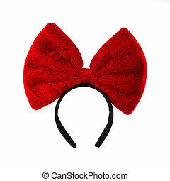 hoofd, bef, met, rood, bow.