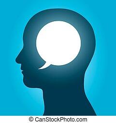 hoofd, binnen, vector, toespraak, menselijk, bel