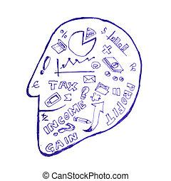 hoofd, boekhouding, symbool