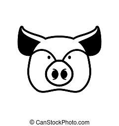 hoofd, boerderij, teken., symbool., varken, snuit, piggy, dier
