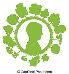 hoofd, concept, boompje, ecologie, groene achtergrond, man