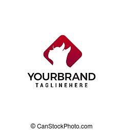 hoofd, concept, kat, vector, ontwerp, mal, logo