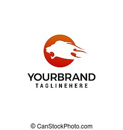 hoofd, concept, leeuw, vector, ontwerp, mal, logo