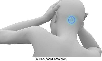 hoofd, concept, pijn, migraine, pian, pulseren