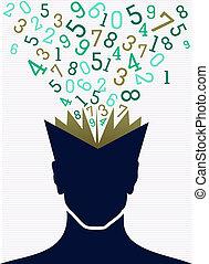hoofd, concept., school, back, boek, getallen, menselijk, opleiding