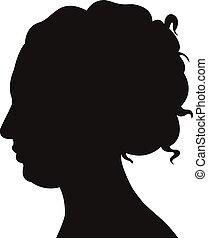 hoofd, dame, silhouette
