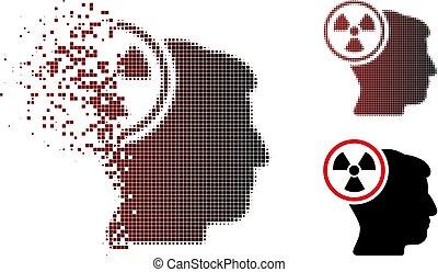 hoofd, denken, halftone, schittering, nucleair, pixel, pictogram