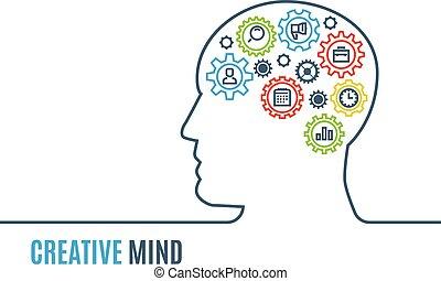 hoofd, denken, illustratie, creatief, vector, toestellen, man