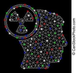 hoofd, draad, denken, frame, flits, stippen, helder, maas, nucleair