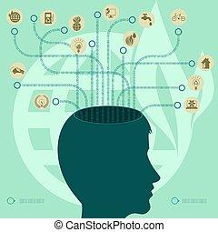 hoofd, ecologie, silhouette, groene, persoon, s, brainstorming, ontwerp, tekens & borden