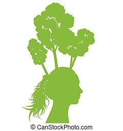 hoofd, ecologie, vrouw, boompje, concept, groene achtergrond