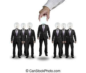 hoofd, een, lift, verlichting, zakenman, bol, grijpen, hand