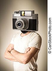 hoofd, fototoestel man