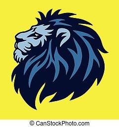 hoofd, -, gele, sporten, leeuw, vector, ontwerp, achtergrond, logo, universiteit, mascotte