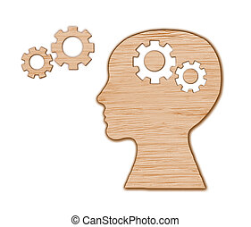 hoofd, gemaakt, van, gears., hersenen, activity.
