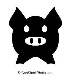 hoofd, gezicht, concept., varken, icon., landbouw, landbouw, of