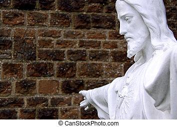 hoofd, /, gezicht, van, een, jesus, standbeeld