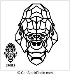 hoofd, gorilla., lineair, abstract, polygonal, vector.
