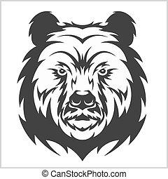 hoofd, grizzly, bruine beer, in, van een stam, stijl
