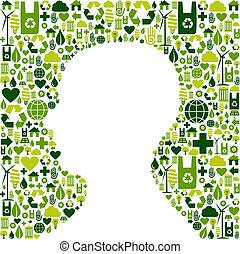 hoofd, groene achtergrond, menselijk, iconen