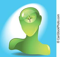 hoofd, groene, menselijk, eco-icon