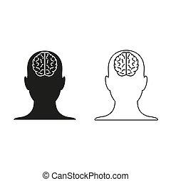 hoofd, -, groene, menselijk, vector, pictogram