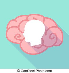 hoofd, hersenen, lang, schaduw, mannelijke
