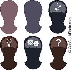 hoofd, hersenen, silhouette