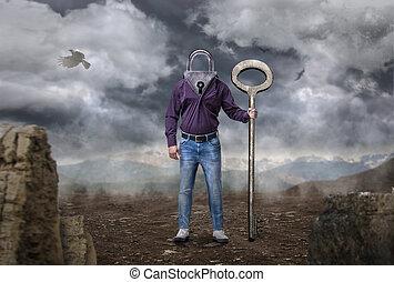 hoofd, houden, groot, keyhole, klee, instead, man