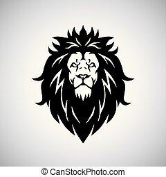 hoofd, illustratie, leeuw, vector, logo, mascotte