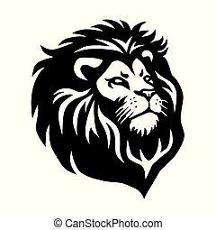 hoofd, illustratie, leeuw, vector, ontwerp, mal, logo