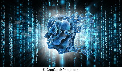 hoofd, interface, code, cog, technologie