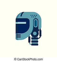 hoofd, isolated., cyborg, robot, illustratie, vector, face.